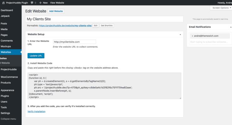 Adding a ProjectHuddle website